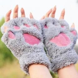 Mitaines pattes de chat grise