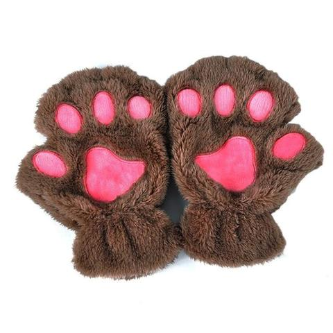 Mitaines pattes de chat marron