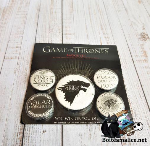Badge game of thrones roi du nord loup