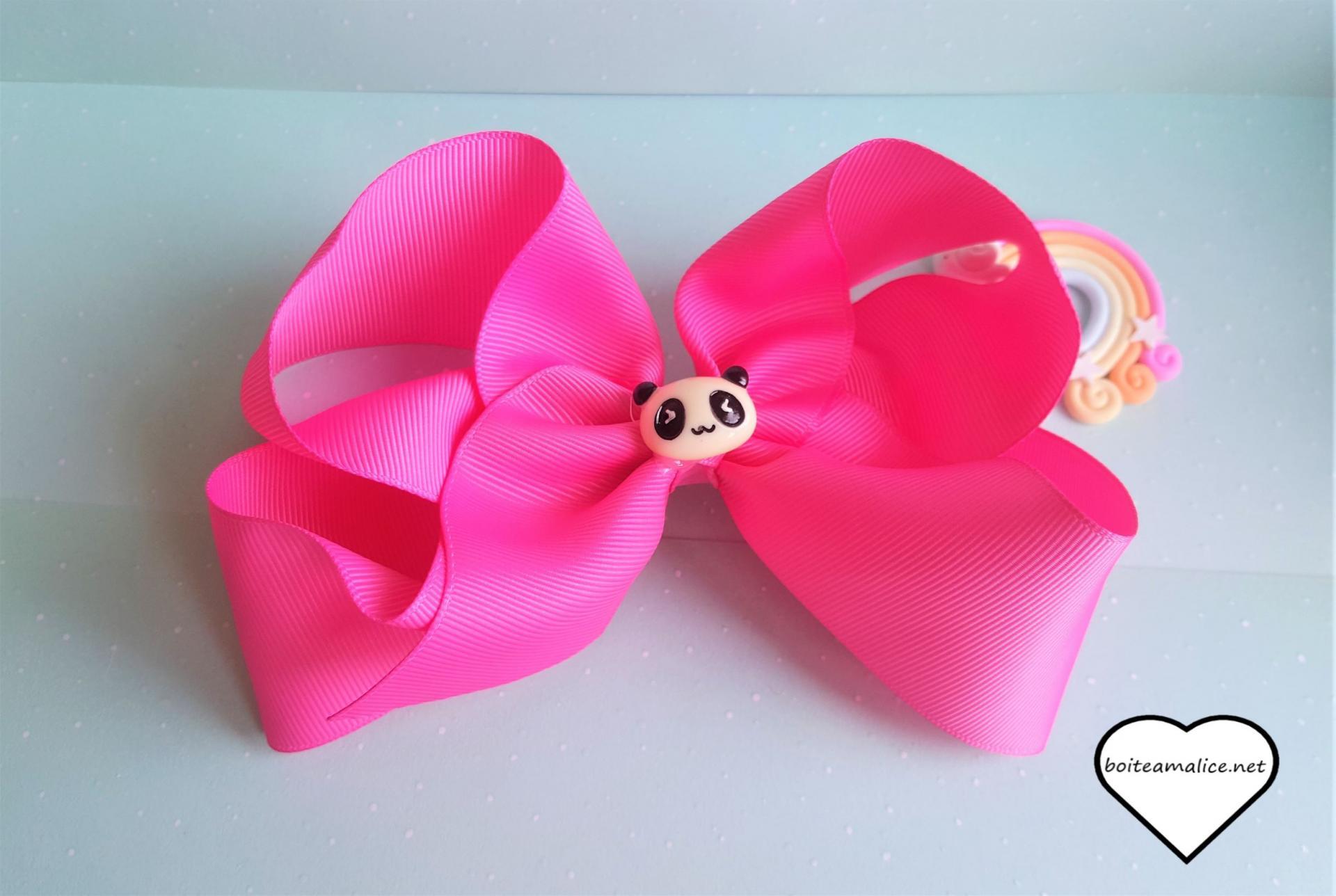 Barrette cheveux panda rose kawaii