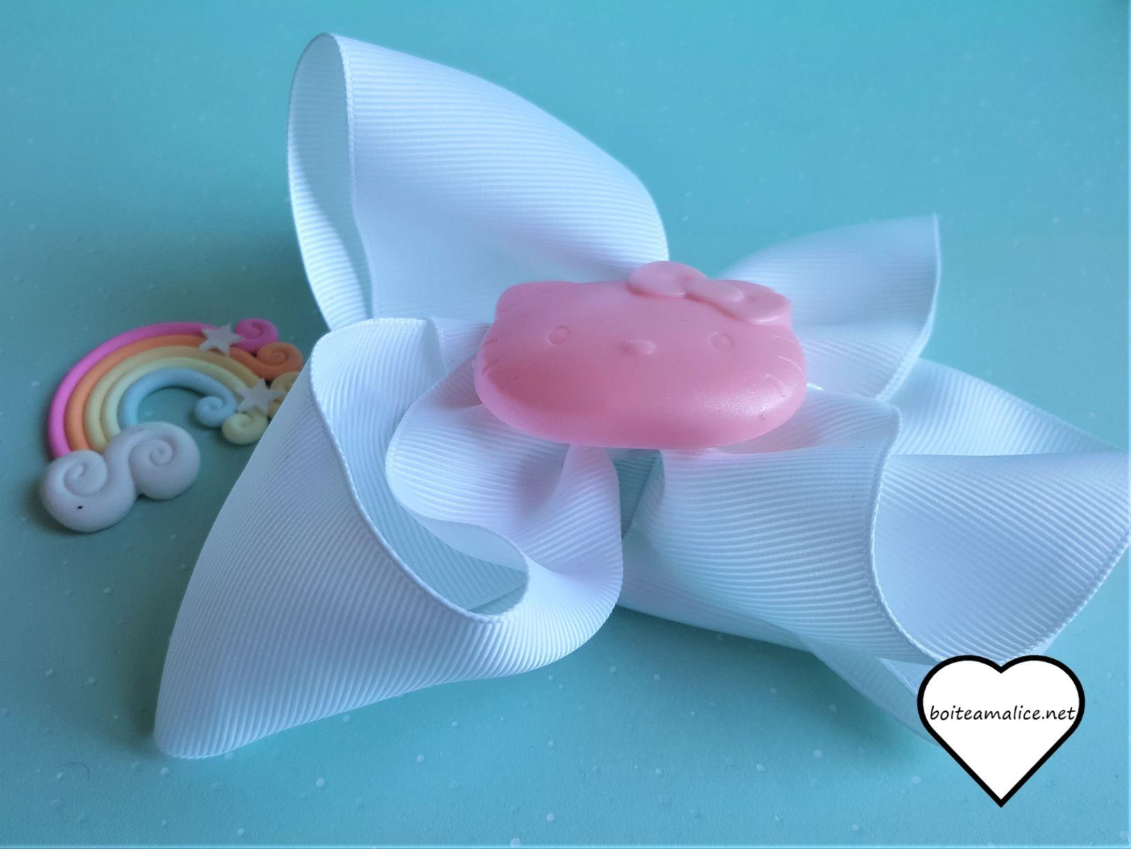 Barrette noeud blanc hello kitty