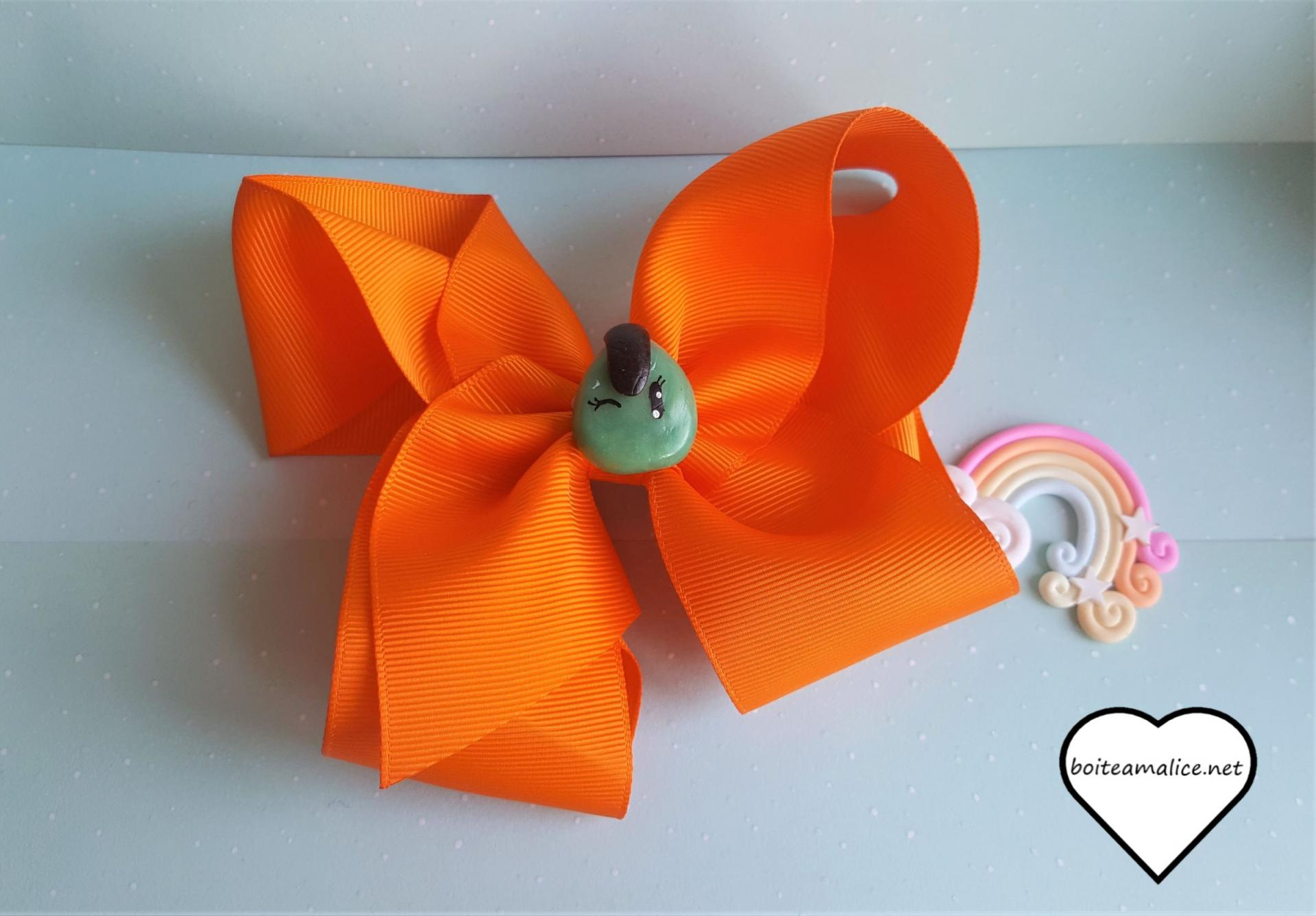 Barrette noeud kawaii orange