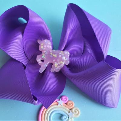 Barrette noeud licorne kawaii