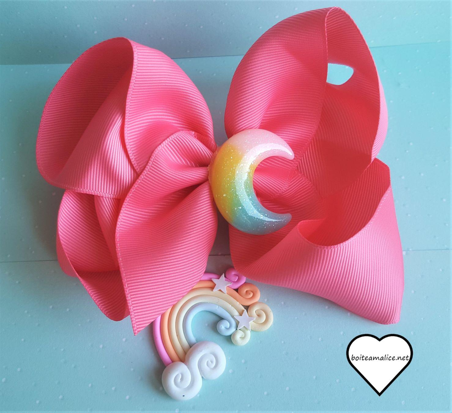 Barrette noeud lune kawaii