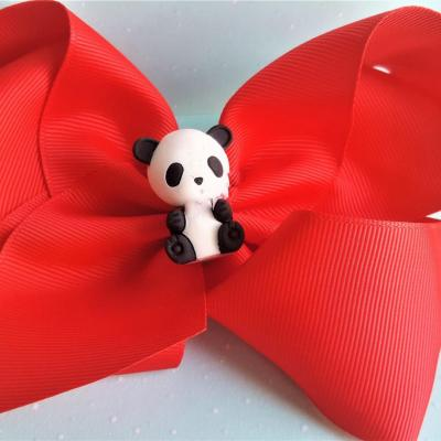Barrette noeud rouge panda petite fille