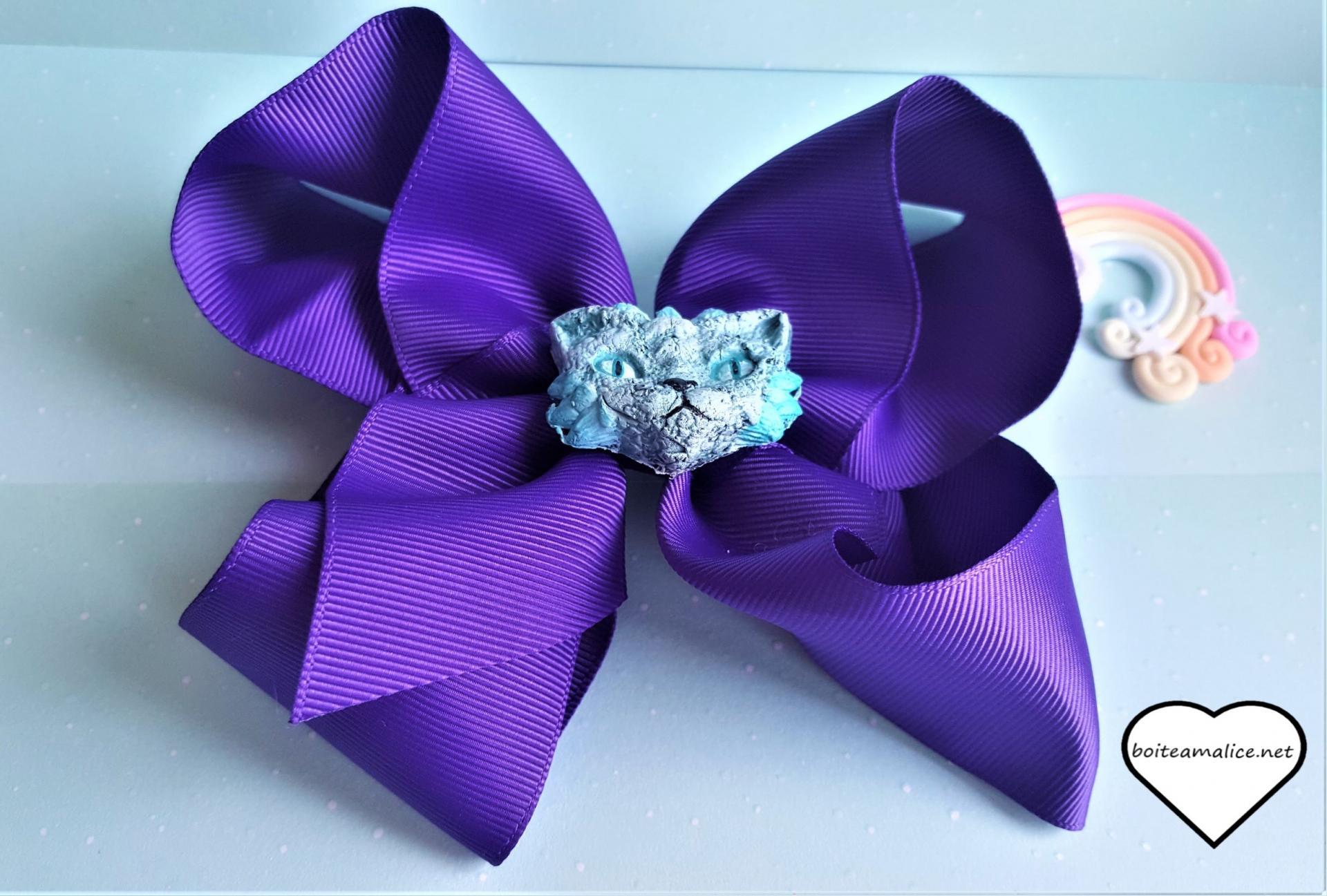 Barrette noeud violet fait main