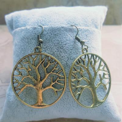 Boucles d oreille arbre de vie dore femme