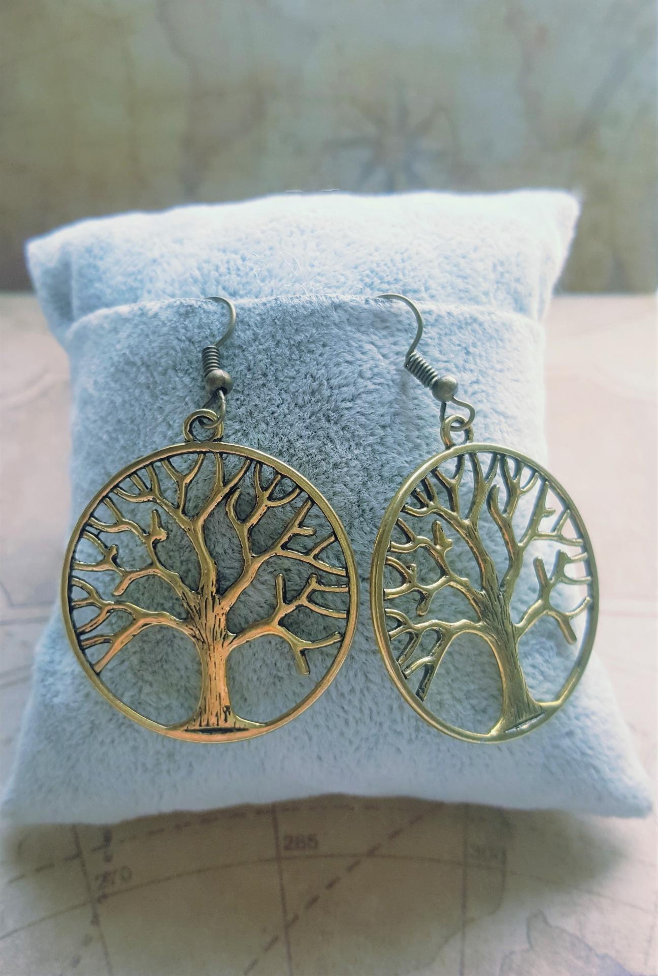 Boucles d oreille arbre de vie dore