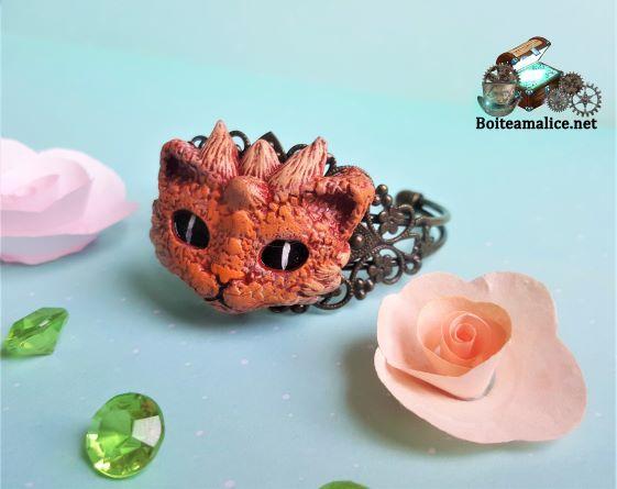 Bracelet dragon rouge bijoux steampunk femme