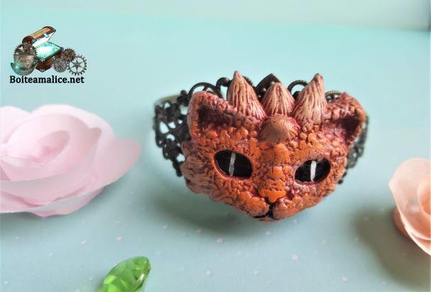 Bracelet dragon rouge steampunk