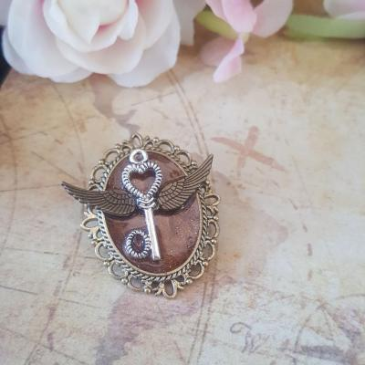 Broche clef steampunk