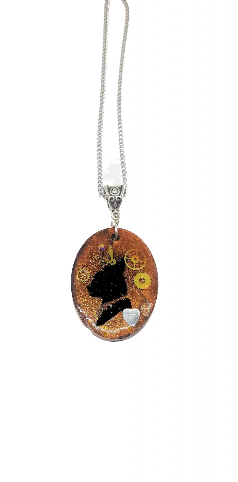Collier cat steampunk resine