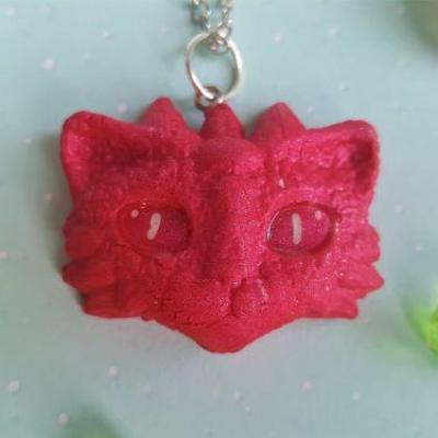 Collier dragon rose framboise kawaii 1