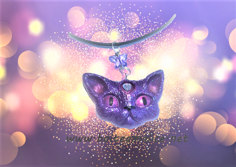 Collier femme chat pendentif kawaii 1