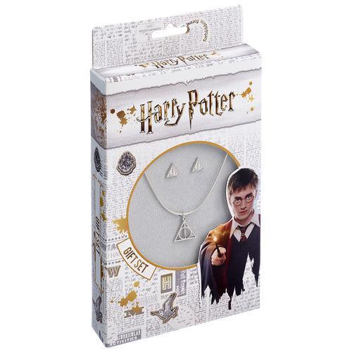 Harry potter boucles d oreille et collier relique de la mort