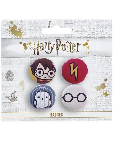 Harry potter pack 4 badges chibi harry