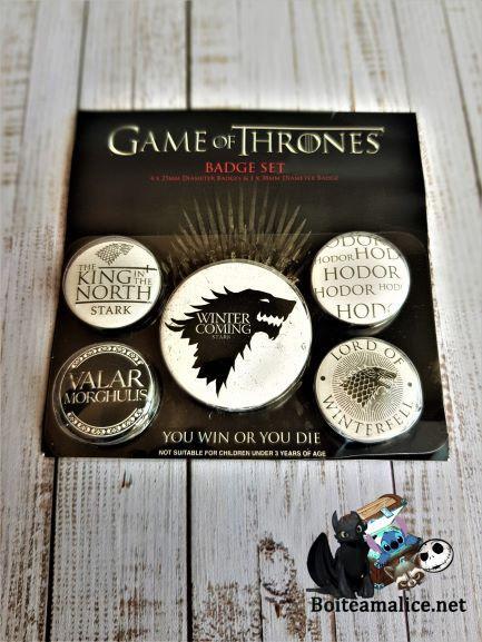 Lot de badge game of thrones