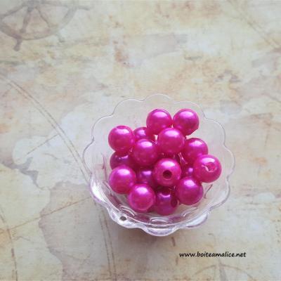 Lot perle rose fushia acrylique