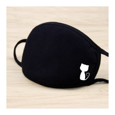 Masque solide noir impression kawaii chat moitie mode mignon