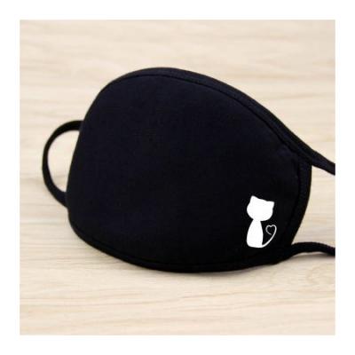 Masque solide noir impression kawaii chat moitie mode mignon