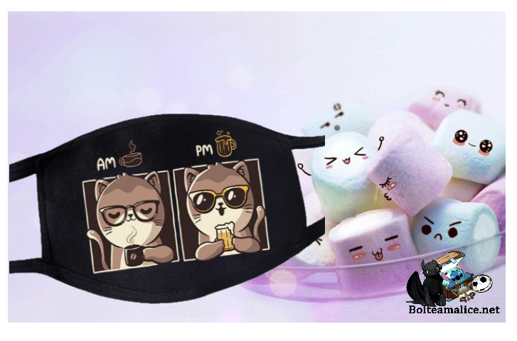 Masque visage kawaii chat