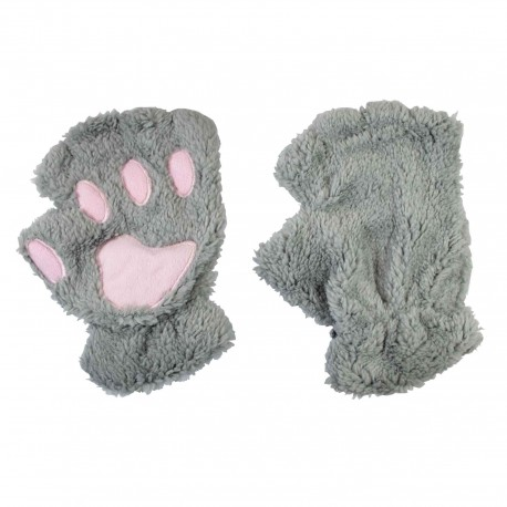 Mitaines kawaii pattes de chat gris