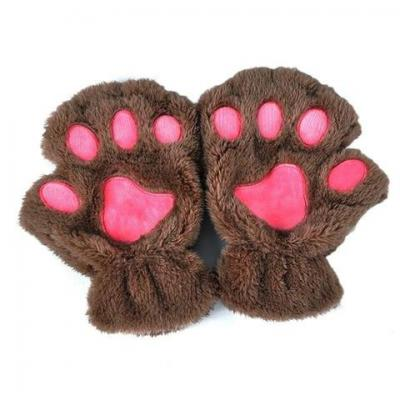 Mitaines patte de chat marron