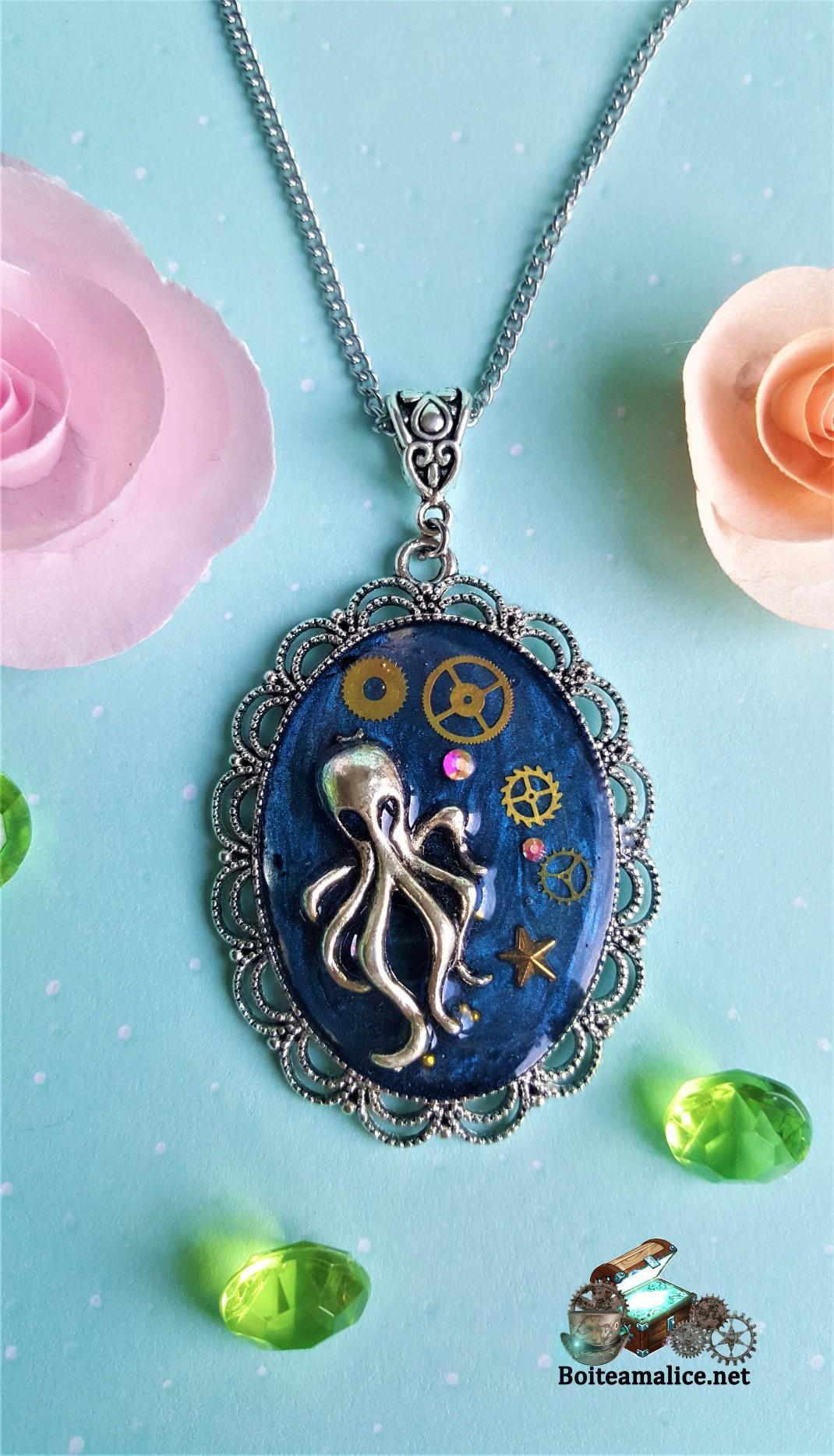 Pendentif octopus steampunk bijou femme
