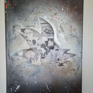 San goku peinture noir et blanc