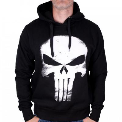 Sweat shirt the punisher marvel skull leather effect