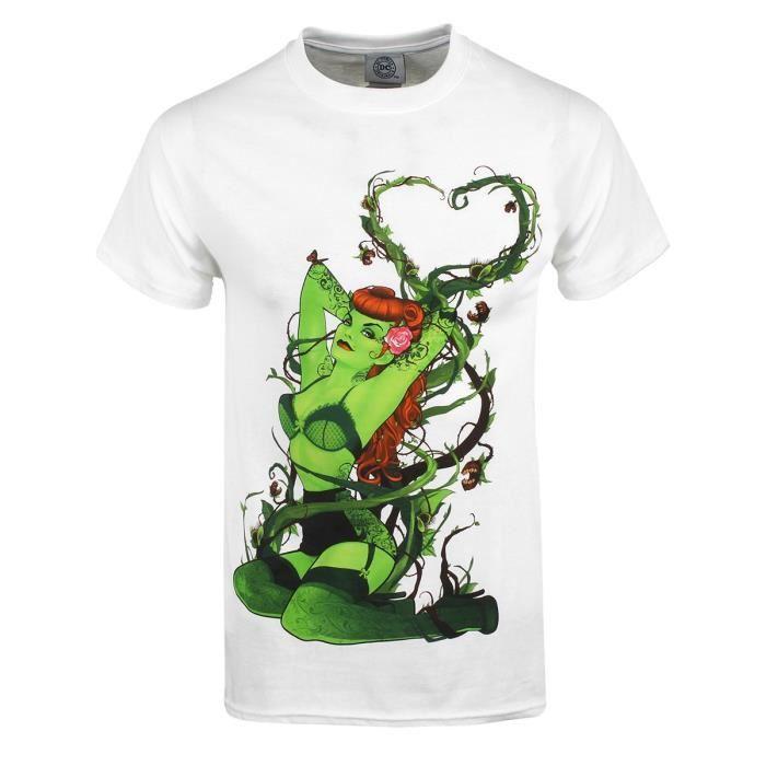 T shirt dc comics blanc pour homme poison ivy