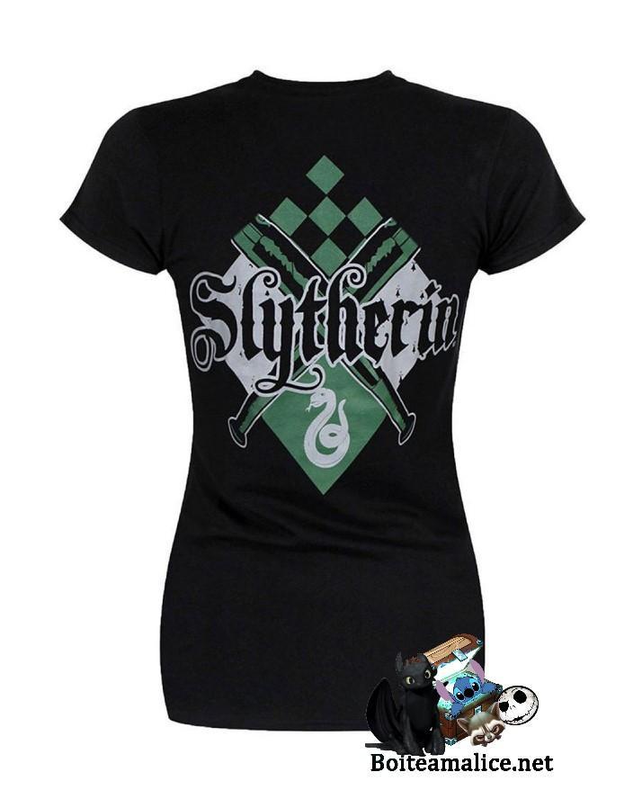 T shirt femme harry potter serpentard noir manches courtes