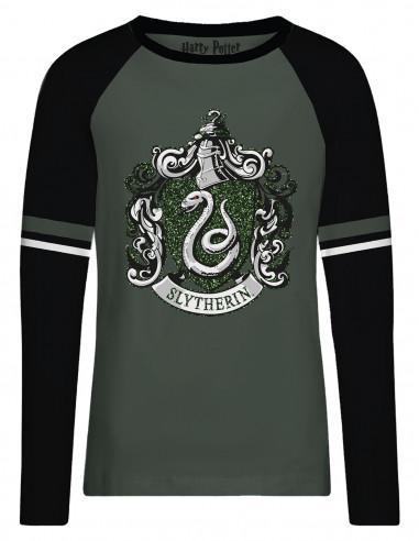 T shirt femme harry potter slytherin green glitter