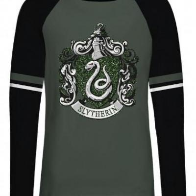 T shirt femme harry potter slytherin green glitter
