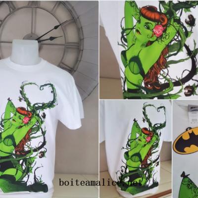 T shirt poison ivy dc comics blanc