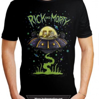 T shirt rick et morty soucoupe homme