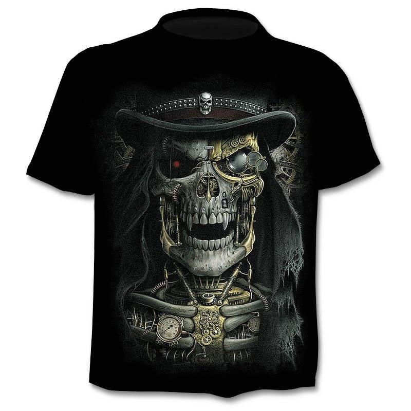 T shirt steampunk skull