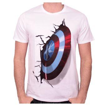 Tshirt captain america marvel blanc